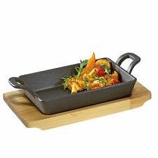 Küchenprofi BBQ Deep Pan Square Made of Cast Iron with Wooden Board