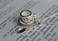 """""""Curiouser and Curiouser"""" Cherry Print Tea Cup and Spoon Necklace"""