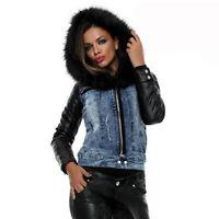 Foggi Damen Winterjacke Jeansjacke Jacke gefüttert Lederlook Kunstfell Blau XS-M