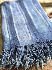 Vintage African Indigo Shibori Stripes Denim Mudcloth | No. 01