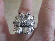 Vintage 14k White Gold Diamond Sunburst  Ring Band.  Large!!  1.46 Carats