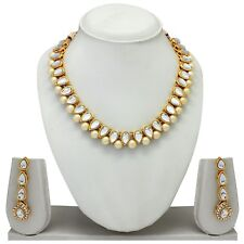 Traditional Indian Ethnic Gold Tone Fashion Jewelry Necklace Earrings Bridal Set