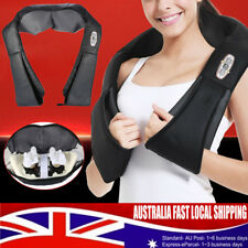 New Electric Shiatsu Massager Heated Wrap Kneading Back Neck Shoulder Body Black