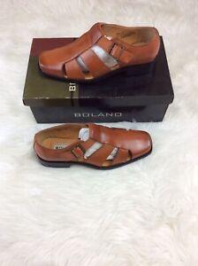 NIB Men's Bolano Dress Shoes Size 9 Cognac Sandals Buckle Closure ZB-20