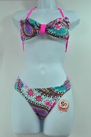 SO Pink Ruffle Floral Design Halter Bikini Top or Bottom Swimwear MSRP $28