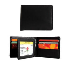 New Cenzoni Genuine Leather Black Wallet RFID Protected Bifold Credit Card Mens