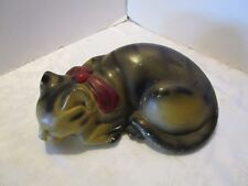 """Antique large Sleeping Tabby Cat Chalkware hollow early 1900's 12"""" Long Vintage"""