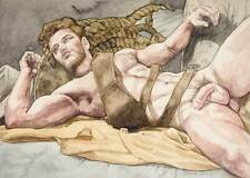 boy, homme nu, watercolor print nude male with ropes and straps gay interest