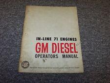 Detroit Diesel GM Series 71 In-Line Engine 1-71 2-71 3-71 Owner Operator Manual