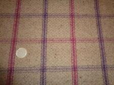 1/4 mtr FQ 60-50cm Lewis Brown Purple Red Check Tweed Shade Roman Curtain Fabric