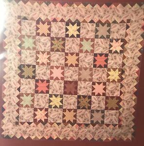 """Star QUILT SEW FABRIC KIT w/Red Rooster & Others 48"""" x 48"""" civil war style"""