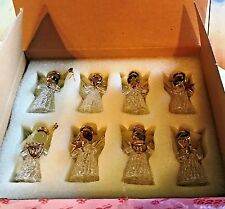 Fantasia Princess House RARE Glass Angel Ornament Set ~ Set of 8 ~ NIB #5227