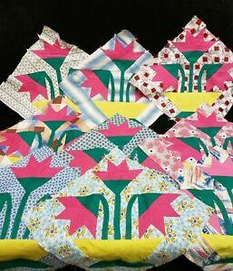 9 Vintage Quilt Hand Piece KIT Blocks Fabric Flowers Vase Lily 1940s Estate Find