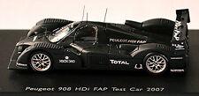 Peugeot 908 HDI FAP 2007 COCHE DE PRUEBA negro negro 1:87 Spark 87s007