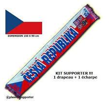 ECHARPE + DRAPEAU TCHEQUE maillot fahne flag scarf schal sciarpa bufanda ...