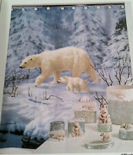 Hautman Brothers Collection Fabric Shower Curtain Arctic Arrival Blue Lodge