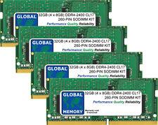 32GB (4 x 8GB) DDR4 2400MHz PC4-19200 260-PIN SoDIMM Memoria RAM Kit per computer portatili