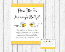 Yellow & Grey Bumble Bee Gender Neutral How Big Is Mommys Belly Baby Shower Game