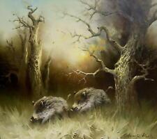 Arnold Schatz 1929 Stepenitz / Wildschweine im Wald / Jagd - Gemälde / 5500 DM
