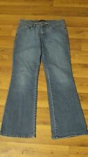 NY & Co Wmn's 10 Mid Stretch Distress 5 Pkt Flare Leg Jeans 31x30½