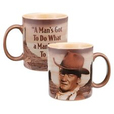 John Wayne A Man's Got To Do Quote 12 oz. Western Photo Ceramic Mug NEW UNUSED