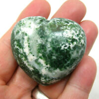 Tree Agate Large Heart Polished Natural Green and White Gemstone 72g 4.5cm