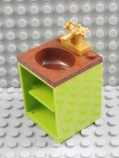 LEGO SINK CUPBOARD ~ Bathroom Kitchen Belville Sink Faucet Tap Brown Green  NEW