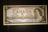 1954 Replacement $5 Dollar Bank of Canada Banknote *VS0148702