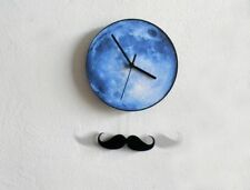 Blue Moon & Moustache - Pendulum Wall Clock