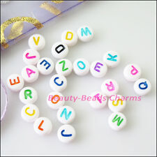 150Pcs White Acrylic Plastic Mixed Letters Spacer Beads Charms 7mm