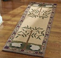 "AREA RUGS - FLOCK OF SHEEP HAND HOOKED RUG - 24"" X 72"" RUNNER"