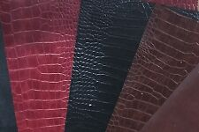 Bonded leather book binding material,Amazona Grain Crocodile, Red, Walnut, Black