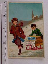 1870s-1880s Gilbert S Graves Laundry Starch Winter Scene Boys Sled Snow F57