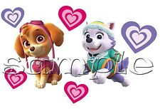 Iron on Transfer PAW PATROL SKYE AND EVEREST cute dogs pink purple hearts 14X10