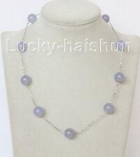 """Genuine 12mm 925 silver Chain round lavender jade necklace 17"""" j10827"""