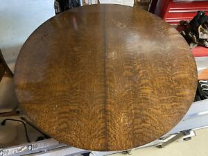 """Arts & Crafts Mission 48"""" Round Tiger Oak Dining Table with 2 Leaves"""