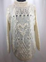 DEBRA LUBELL 1992 WOMEN 63% Mohair blend Cream pullover sweater Bulky Knit SZ M