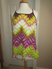 SLEEVELESS TOP - ana - Pink/Chartreuse/Brown - Sheer - Sz L - NWT