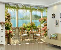 Garden Lake Mountain Scenic Window Curtains 3D Printing Blockout Drapes Fabric