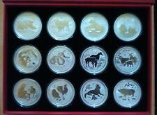 Australia Perth Mint Lunar 2 .999 2oz Silver Coins Complete Set Boxed