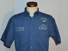 CHAMPION BOATS BUTTON DOWN COLLAR SHIRT! EMBROIDERED LOGOS! SHORT SLV! COTTON! S