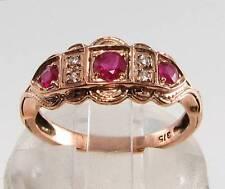 LUSH 9CT 9K ROSE GOLD INDIAN RUBY & DIAMOND ETERNITY ART DECO INS RING FREE SIZE