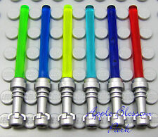 NEW Lego Star Wars 6 Silver LIGHT SABERS Minifig Weapon Red/Green/Blue/Purple
