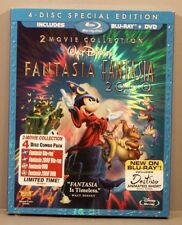 Fantasia and Fantasia 2000 (Blu-ray DVD 2010, 4-Disc Special Ed) *NEW* Slipcover