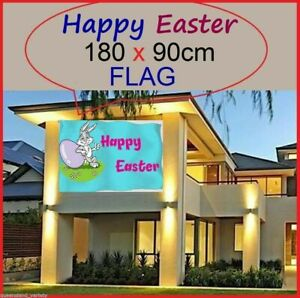 HAPPY EASTER HOUSE FLAG 180x90cm School Home Church Novelty Party Decoration NEW