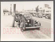 Vintage Car Photo Woman w/ 1936 Studebaker Automobile on Roadside 765202
