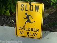 Vintage 1950s Original Painted Wood Sign SLOW CHILDREN PLAY Street Road Conn CT
