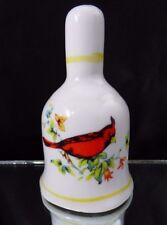 Vintage Red Cardinal Bird Porcelain White Ceramic Bell With Flowers Collectible