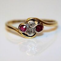 Art Deco Diamond Ruby Quatrefoil 18ct Yellow Gold Bypass Ring size K 1/2 ~ 5 1/2