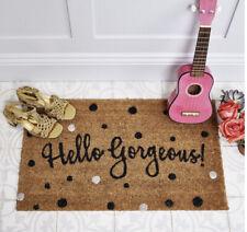 Bombay Duck Hello Gorgeous Door Mat Black White Polka Dot Natural Coir Doormat